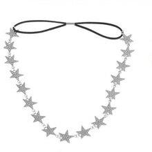 Fashion Ladies Metal Chain Jewelry Pentagram Star Elastic Hair Band Headbands  Hair Bands women Accessories
