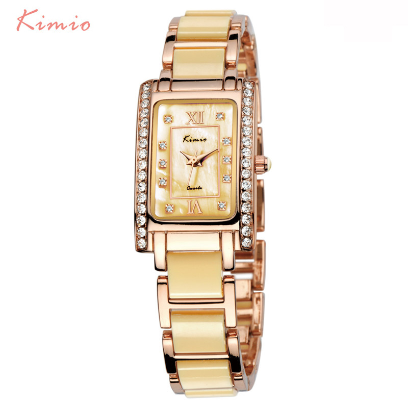 KIMIO kvadratrektangel Rose Gold Watch Rhinestone Ladies Armband Luxury Watch Women Brand Quartz Armbandsur För Kvinnor Tillfälligt
