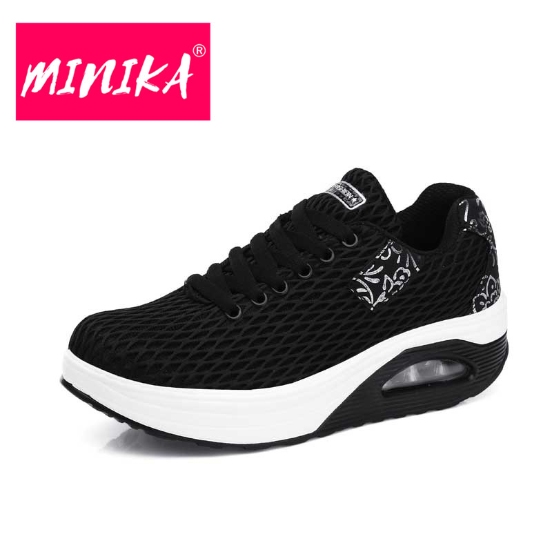 MINIKA 2018 New Arrival Women Sneakers Lace Up Breathable Women Flat Shoes Spring & Autumn Comfortable Women Mesh Shoes 35-41 minika new arrival 2017 casual shoes women multicolor optional comfortable women flat shoes fashion patchwork platform shoes