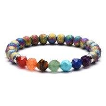 Ourania Natural stone colorful chakra bracelet and yoga balance beads Buddha statue prayer elastic lovers