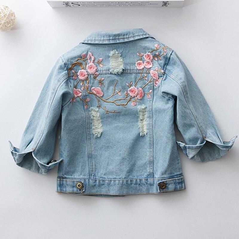 Mode Herbst Kinder Mädchen Vintage GEWASCHEN LOCH Denim Jeans Jacken Stickerei Flora Outwear Kinder Kleidung Casaco Mäntel S5581