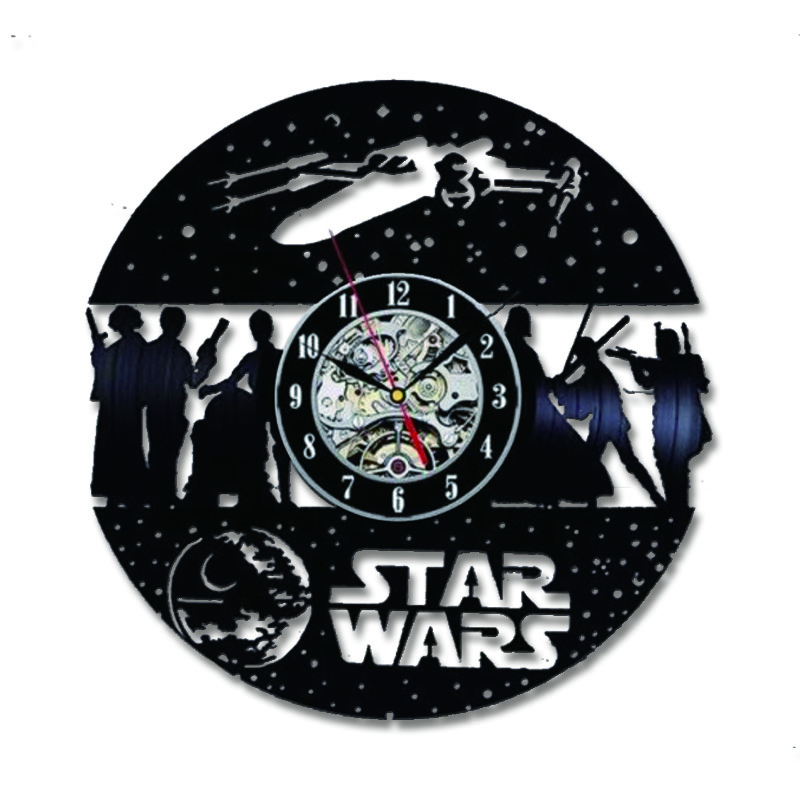 Vinyl Record Wall Clock Star War Theme Silent CD Record LED Clocks For Living Room Hanging Watch With 7-Color Lights Home Decor