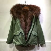 2016 winter warm army green hooded jacket brown fox fur coats mr mrs furs parka