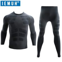 IEMUH New Dry Fit Compression Tracksuit Fitness Tight Comprehensive Training Set Legging Men's Sportswear Black Gym Sport Suit(China)