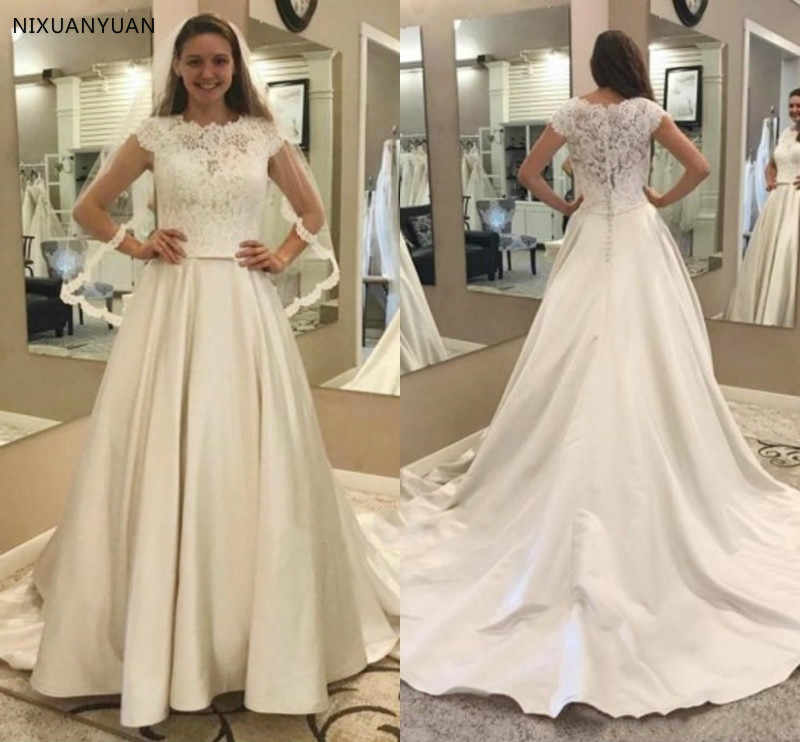 Modest Lace Satin Wedding Dresses A Line Cap Sleeves Garden Bridal