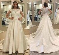 Modest Lace Satin Wedding Dresses A Line Cap Sleeves Garden Bridal Gowns with Pockets Court Train Plus Size Vestido De Novia