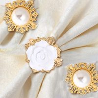 12pcs Gold Pearl Decorative Silver Napkin Ring Serviette Holder For Wedding Party Dinner Table Decoration Accessories