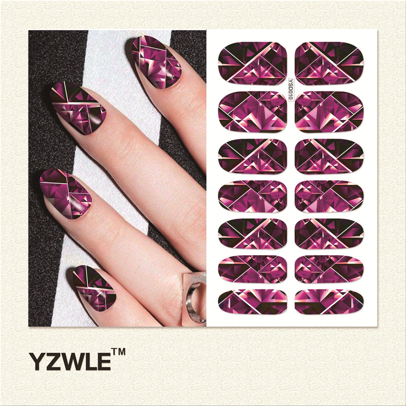 YZWLE  1 Sheet Water Transfer Nails Art Sticker Manicure Decor Tool Cover Nail Wrap Decal (YSD010) yzwle 1 sheet cartoon watermark water transfer design nail art sticker nails decal manicure tools