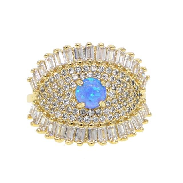 Vòng màu vàng với màu xanh opal cho phụ nữ mắt Hợp Thời Trang đồ trang sức dropshipping anel anillos aneis bagüés femme tuyên bố đồ trang sức
