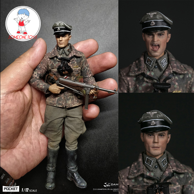 DAM DAMTOYS PES003 1/12 WWII German Armored Division Mager Soldier Figurine With 2 Heads  Collectible Action Figure Dolls