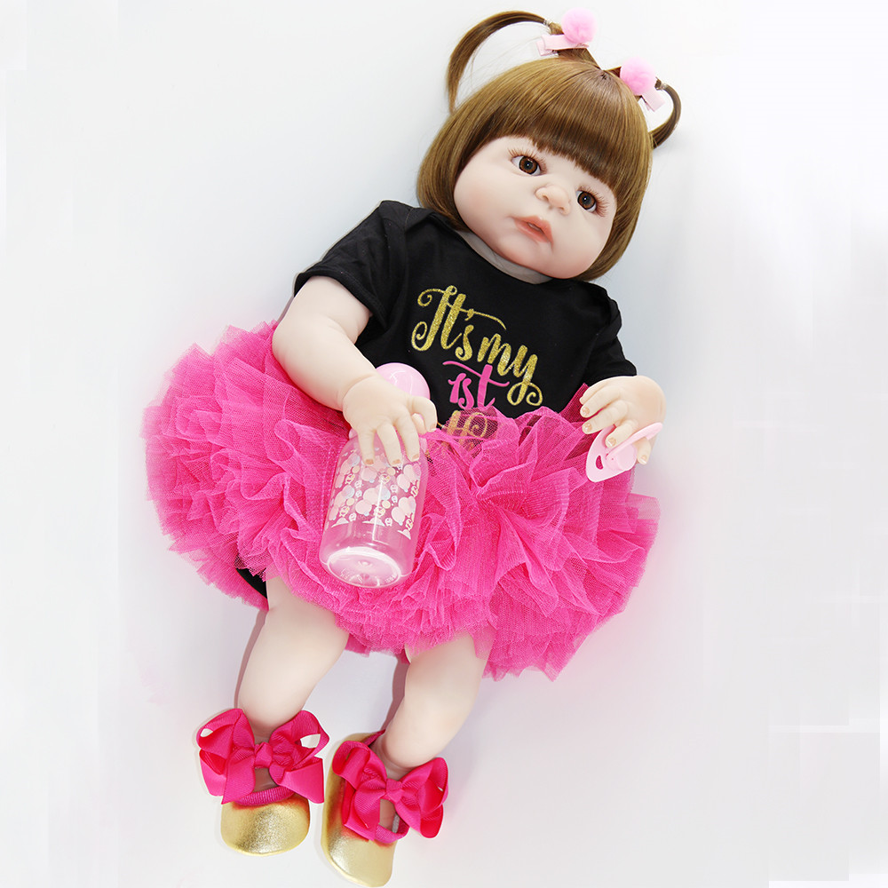 """NPK doll reborn full silicone reborn baby girl dolls 23""""57cm  Bebes reborn corpo de silicone inteiro child gift toy doll-in Dolls from Toys & Hobbies    3"""