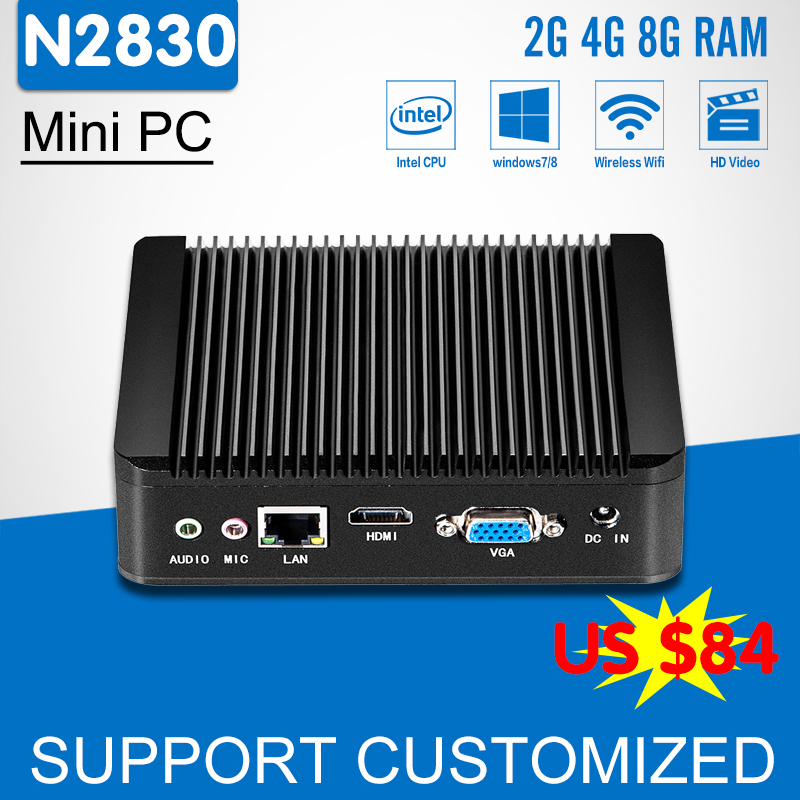 Intel Celeron N2830 Mini PC Windows 10 Linux Fanless Intel Mini Computer HTPC Android Media Player HDMI Office Desktop цены