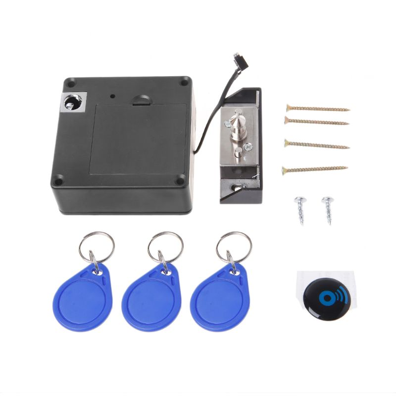 Cabinet Invisible Electronic RFID Lock Hidden Keyless Drawer Door Locks Sensor Locker 3 Keychains  3 Cards