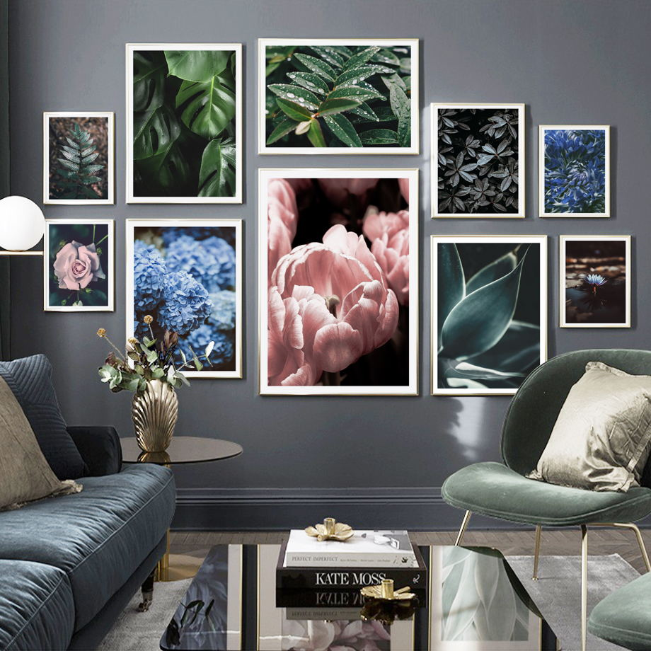 Fresh Green Plant Chrysanthemum Hibiscus Flower Wall Art Canvas Painting Nordic Posters And Prints Pictures For Living Room