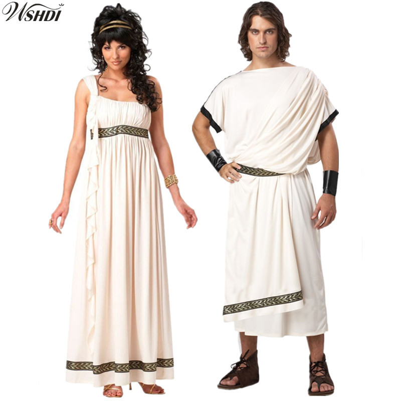 Purim Ladies Roman Princess Toga Fancy Dress Halloween Greek Olympic Goddess Grecian Outfit Arabic Prince Caesar Costume For Men