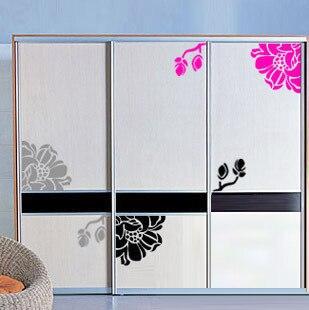 Flowers Wardrobe Cabinet Stickers Kitchen Sticker Glass Stickers - Wall decals on furniture