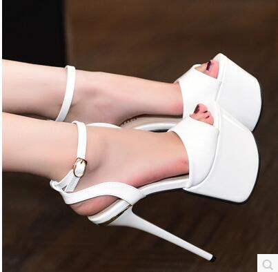 Shoes Woman 2017 Sandals Summer New T Station Serves Thin 17cm High Heels High Waterproof Open-toed Sandals Roman Shoes Female 2016 sexy open toed sandals bronzing 7 5cm kitten heels shoes narrow band gold high heeled sandals stiletto woman shoes