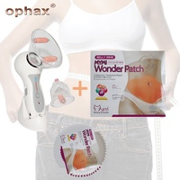 OPHAX Electric Anti Cellulite Vacuum Cup Massage Roller Weight Loss Products+5Pcs Belly MYMI Wonder Slimming Patch Fat Burning
