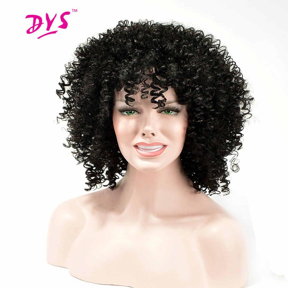 Deyngs Afro rizado Rizado corto pelucas sintéticas con flequillo para las mujeres negras negro Natural/Color rojo americano africano pelo corte pixie