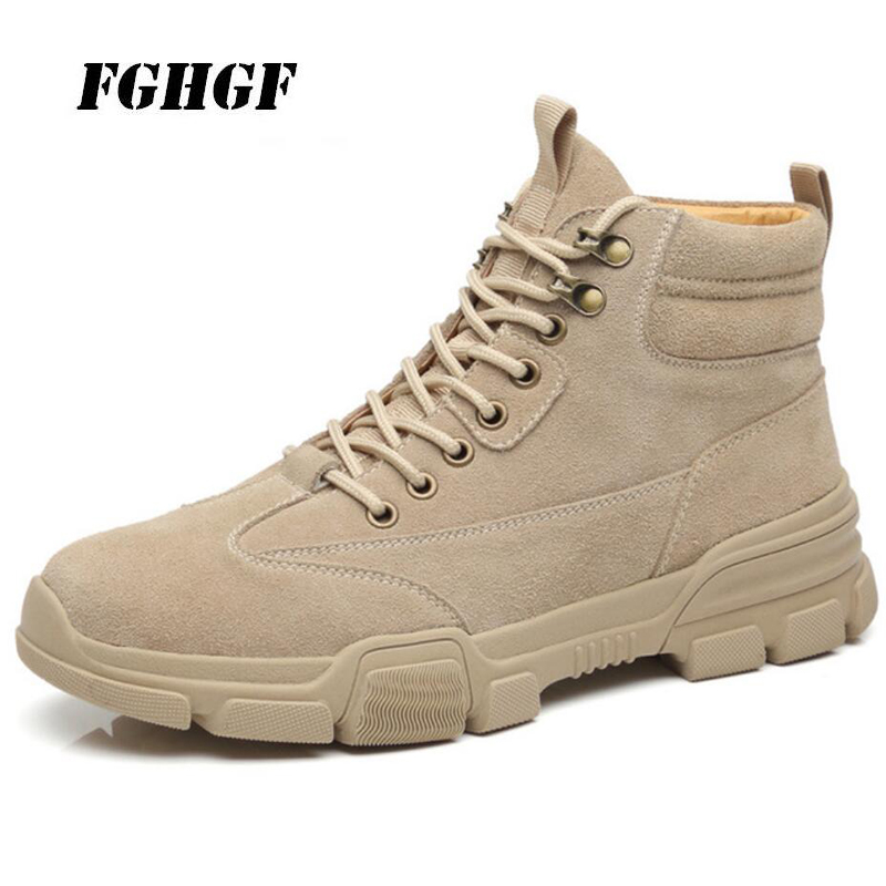 1cb87de269c5 Martin boots Men s winter warm high - top shoes with fleece Casual leather  men s shoes flat