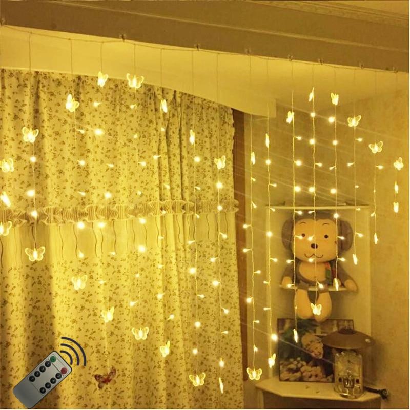 Пульт дистанционного управления, 2x1,5 м, занавес с бабочкой, светодиодный светильник с сердечками, светильник s, теплый белый, праздничный, на ...