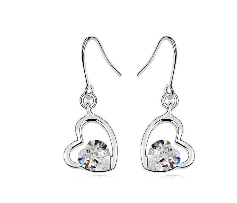Stud Earrings ear rings Fashion for women Girls lady heart cystal grace high quality