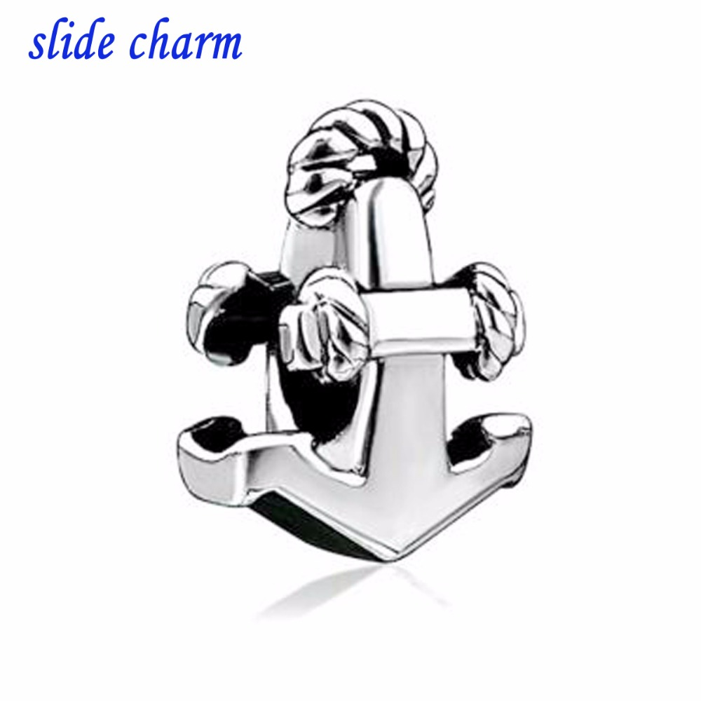 slide charm Free shipping Mothers Day the luxury brand sports anchor charm beads fit Pandora charm bracelet Christmas