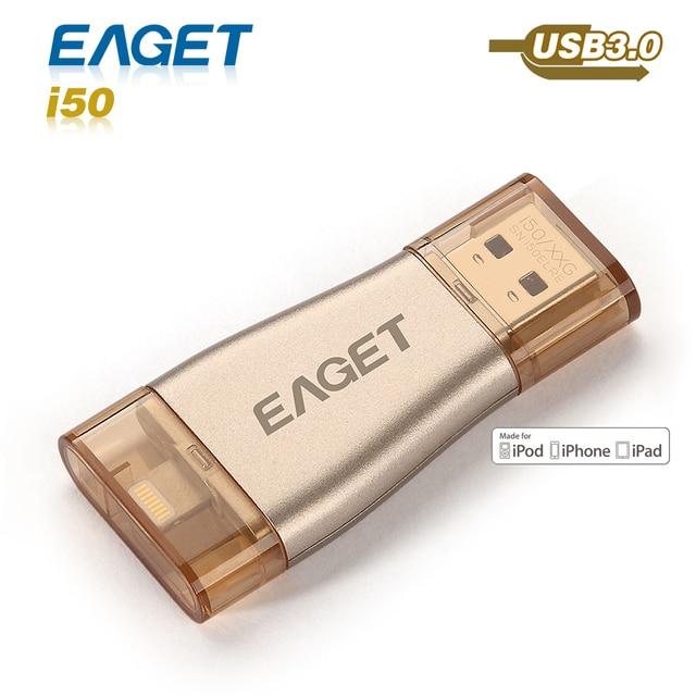 Привода 64 ГБ usb 3.0 Eaget i50 otg usb флэш-накопитель 32 ГБ pendrive 128 ГБ usb-палки мфо для iphone 5 5S 6 6 s внешний