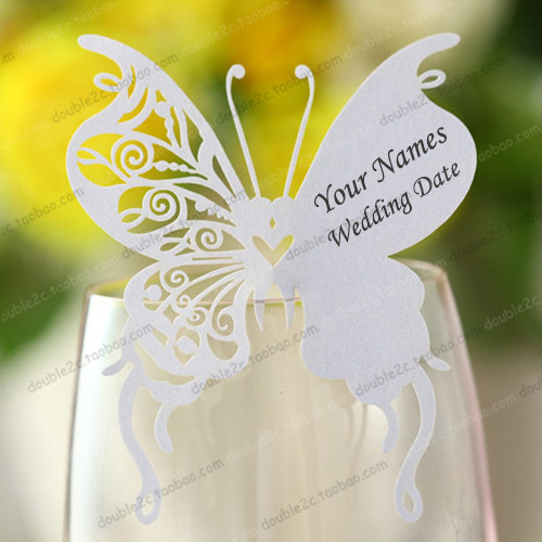 Aliexpress Buy Wedding place cards for wine glassinvitation – Butterfly Wedding Invitation Cards