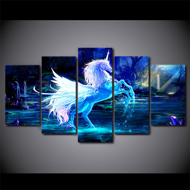Wall Art Home Decor Posters Modern Painting 5 Panel Unicorn Horse Modular Picture Frame HD Printed On Canvas For livingroom