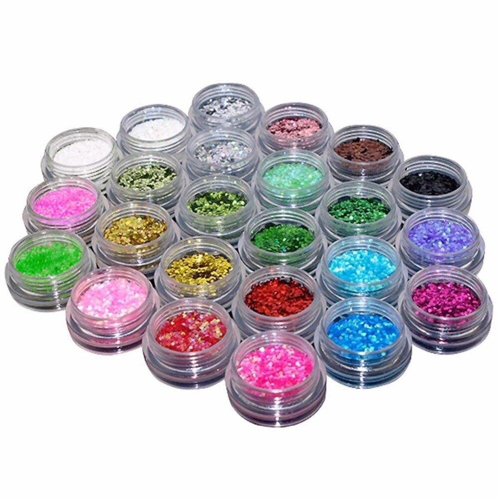 TOPBeauty 24 pcs Sombra Glitter Solto Rosto Corpo Pintura Pintura do Ofício Da Arte Do Prego, telefone maquiagem Nail Art Pigmento Glitter Em Pó