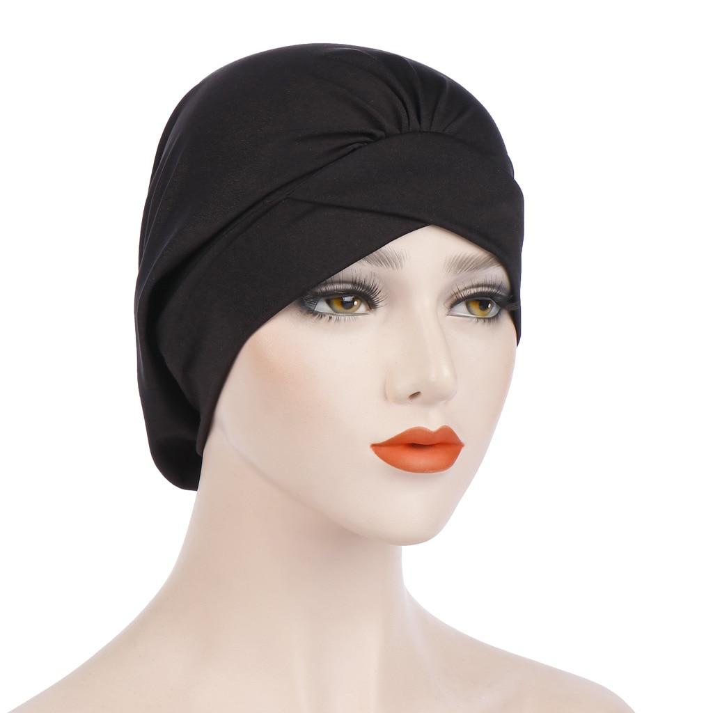 Muslim Cross Scarf Inner Hijab Cap Islamic Head Wear Hat Headband Turban Head Scarf Headwrap Women Muslim Hijab