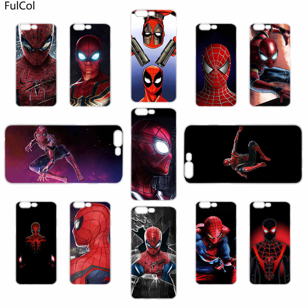 cheap for discount 387ef 1a850 FulCol Marvel Comics Spider Man Transparent fashion hard Case for Oneplus  6T 6 5T 5