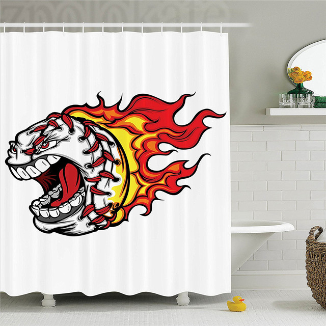 Sports Cartoon Image Of A Flaming Baseball With Angry Face Screaming Attacking Design Polyester Bathroom Shower Curtain Red Oran