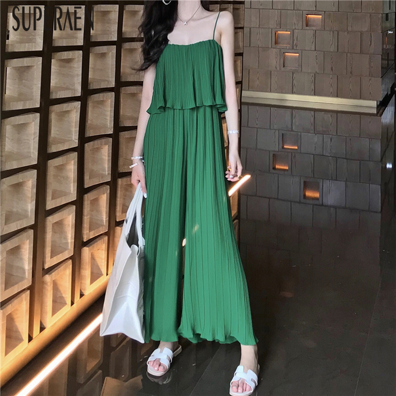 SuperAen Sling Jumpsuit Women Summer New 2019 Wild Solid Color Sleeveless Jumpsuits Women Fashion Ladies Wide Leg Pants(China)