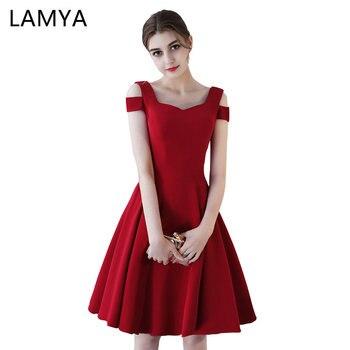 89c2e721d LAMYA satén cóctel vestidos corto elegante vestido De fiesta noche Simple De  la longitud De la rodilla vestido De fiesta
