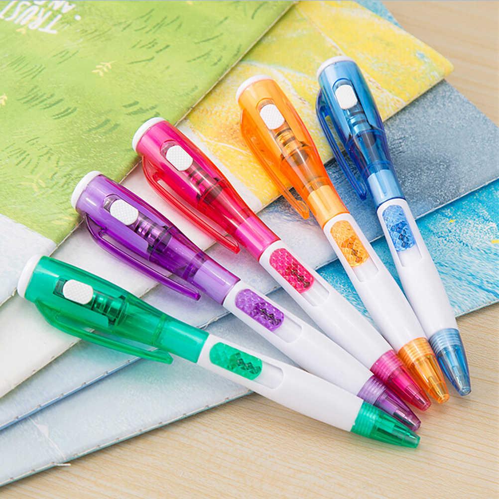 """רישום חדש נורות LED תמהיל 5 סגנון עט כדורי 0.5 מ""""מ מותג Creative סטודנטים מכתבים משרד כתיבת ציפורן עט דיו כחול מילוי"""