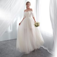 Boat neck champagne wedding dress a line appliques court train bridal gowns elegant long outdoor&church wedding dresses