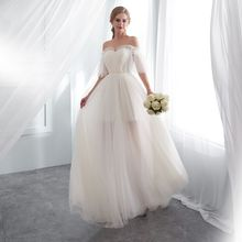 Boat neck champagne wedding dress a line appliques court train bridal gowns elegant long outdoor&church dresses