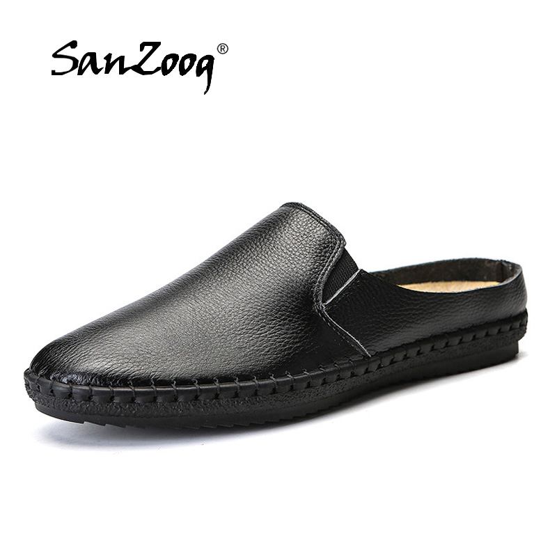 2019 Summer New Men Half Shoes Slip On Leather Casual Shoes Men Loafers Mocassin Homme 4 Colors Plus Size 47