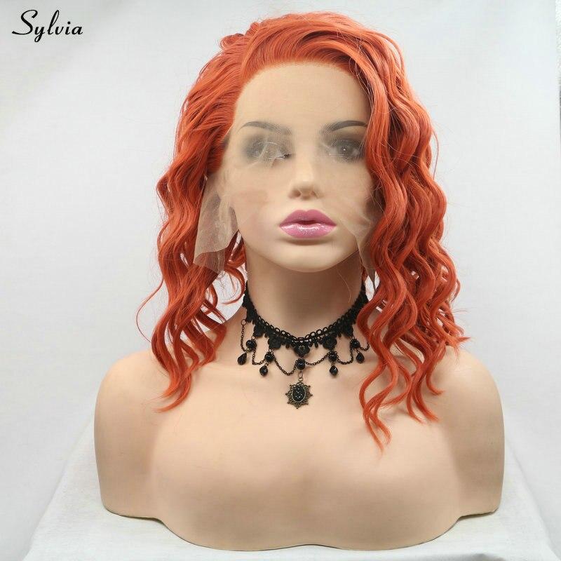 Sylvia Bob cheveux cuivre Orange rouge synthétique dentelle avant perruques femmes Cosplay cheveux rouille rouge perruque lâche vague coiffure impeccable Hai