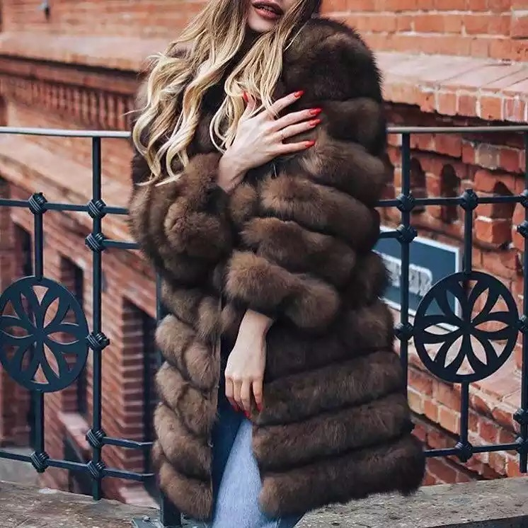 2018 New Natural Real Fox Fur Coat Winter Women Long Style Genuine Real Fur Jacket Female