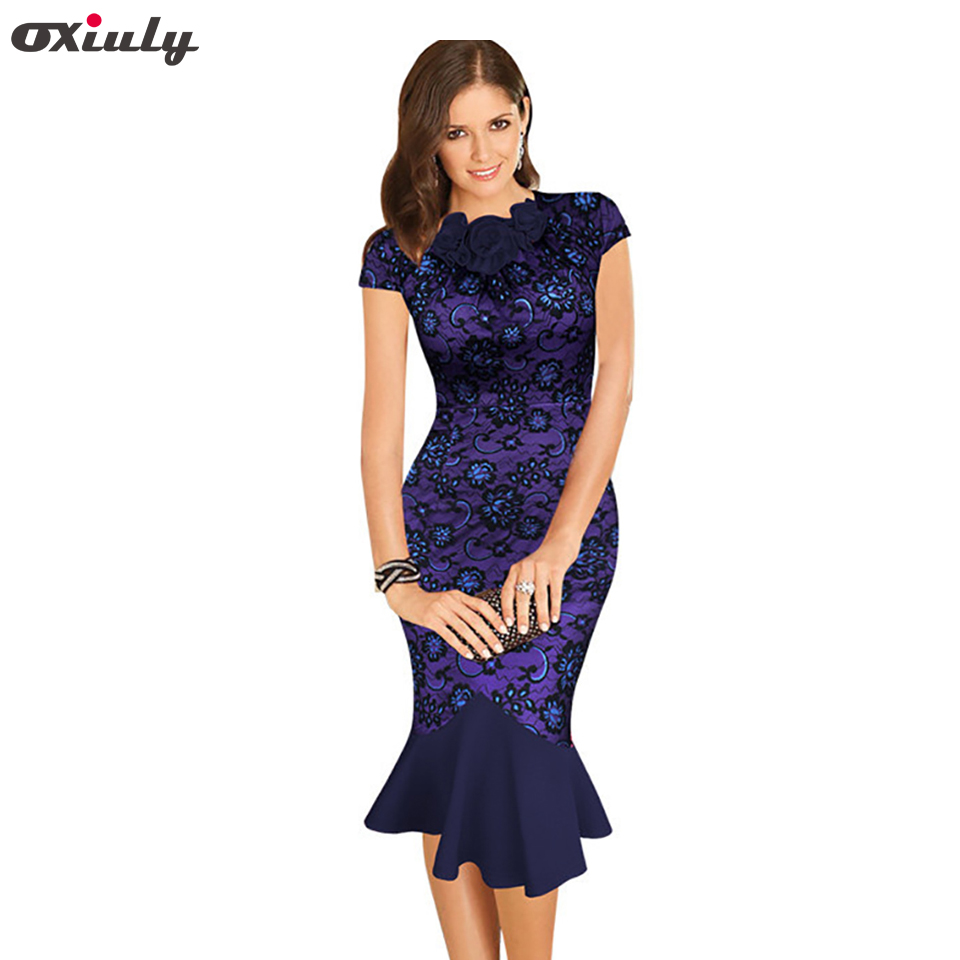 Oxiuly Womens Elegant 1950s Vintage <font><b>Purple</b></font> Flower Lace Fitted Stretch Bodycon Formal Party Sheath Wiggle Mermaid <font><b>Dress</b></font>