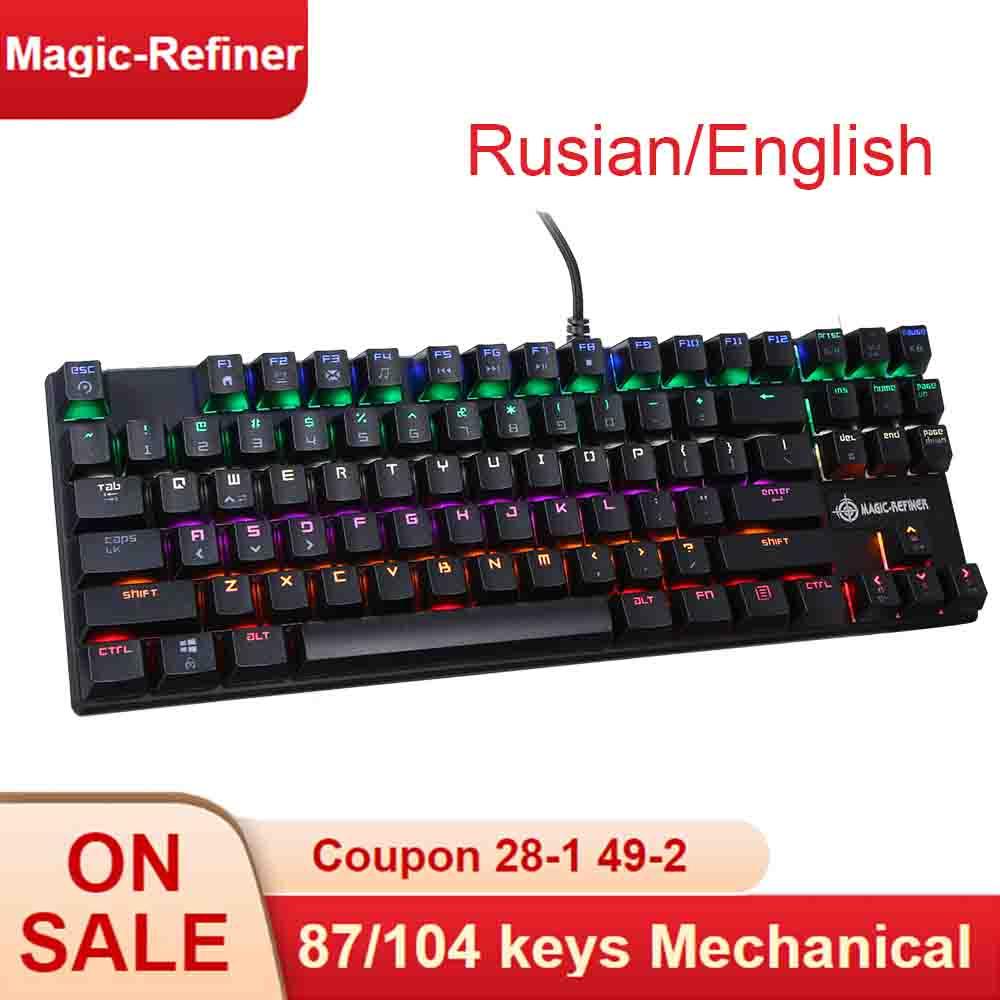 MAGIC REFINER Mechanical Keyboard 87 104 keys Gaming Keyboard Wired Blue Switch Mixed RGB Backlit Keyboard