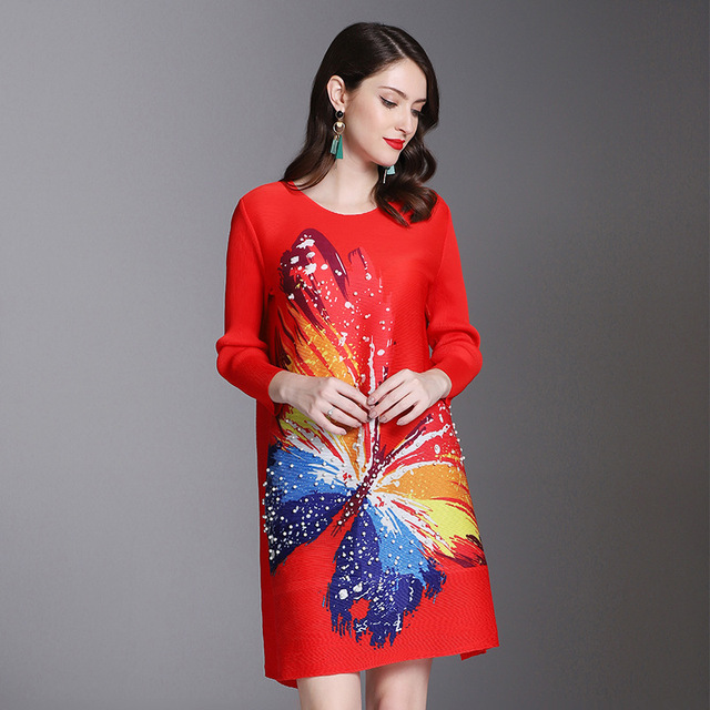 LANMREM 2018 Autumn Women Dress Long Sleeve Pullover Butterfly Printing National Style Temperament Pleated Dress Female TA096
