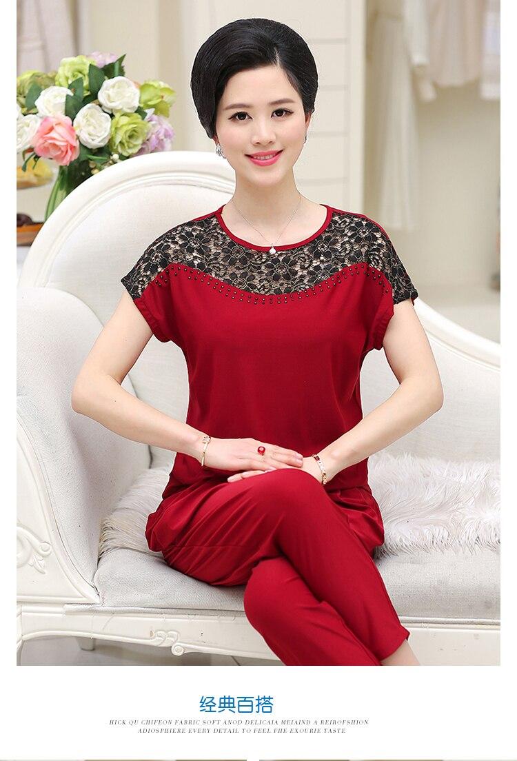 2019 Summer New Middle-Aged Women Lace Suit Set Short-Sleeved O- Neck Fashion Women Set W478 12