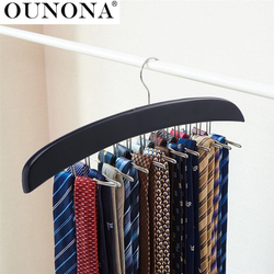 Wooden Necktie Tie Hanger Rack Scarf Organizer Holder with 24 Hooks for Home (Black)