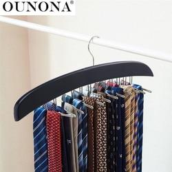 Wooden Necktie Tie Hanger Rack Scarf Organizer Holder with 24 Hooks for Home (Black)