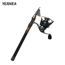 Yernea Carbon Portable Fiber Telescopic Fishing Rod Spinning Pole Hand Fishing Tackle Sea Ocean Rod 1.8M 2.1M 2.4M 2.7M 3.0M 3.6