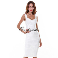 Free Shipping New Arrival Christmas Dress Elegant White Heavily Banded Bustier Knee Length Bodycon Bandage Dress